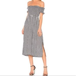 Bardot Off shoulder Gingham dress